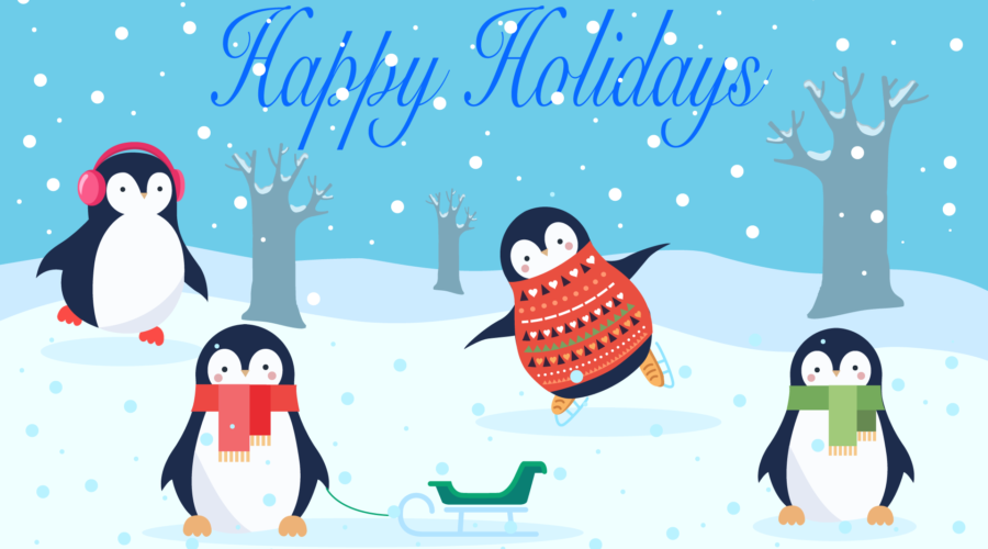 stay organized during holidays penguins in snow